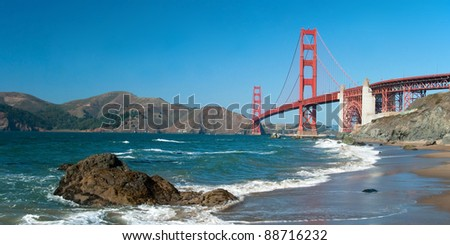 The Golden Gate Bridge in San Francisco during the sunny day with beautiful azure ocean in background panorama