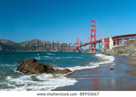 The Golden Gate Bridge in San Francisco during the sunny day with beautiful azure ocean in background