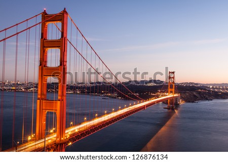 The Golden gate bridge in sunset - stock photo
