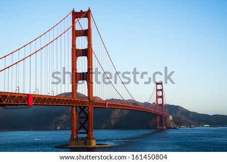 The Golden Gate Bridge in the morning. - stock photo