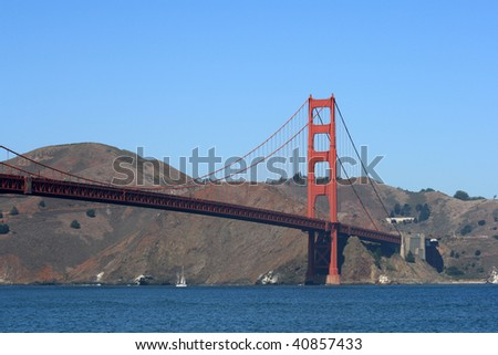 The Golden Gate Bridge viewed from the banks of the San Francisco Bay.