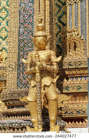 The golden giant in Wat Phra Kaew