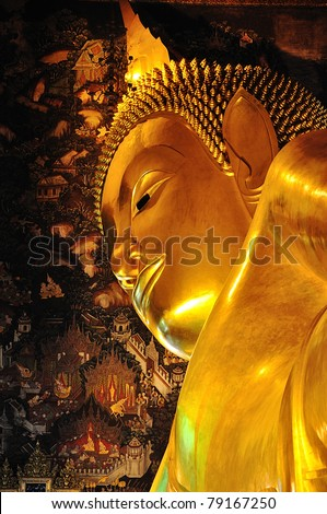 the golden lying buddha in temple, bangkok thailand - stock photo