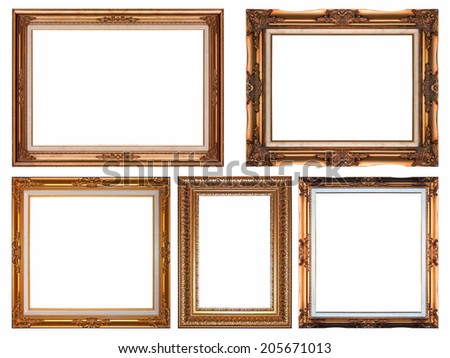 The golden picture frame isolated on white background.