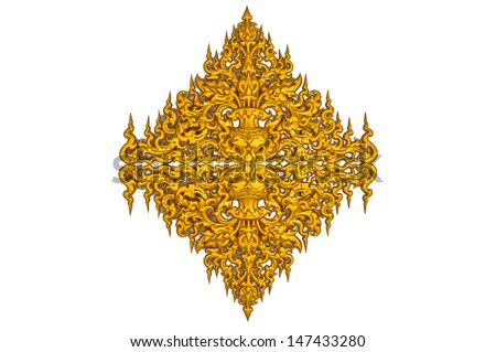 the golden thai wall sculpture at at Rongkun Temple, call 'Laithai""