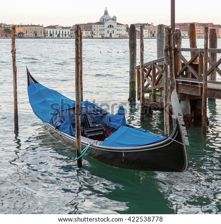 The gondola (view from San Marco embankment) - Venice, Italy - stock photo
