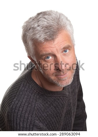 the good-natured  bright gray mature man isolated white background close up
