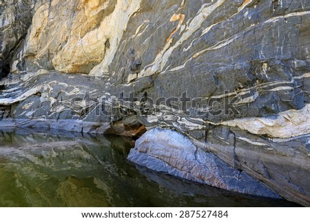 The gorgeous canyon walls of Tanque Verde falls, located just outside of Tuscon, Arizona, USA.  - stock photo