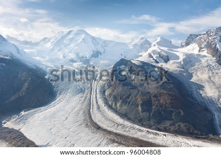 The Gorner Glacier (Gornergletscher) in Switzerland is the second largest glacier in the Alps.