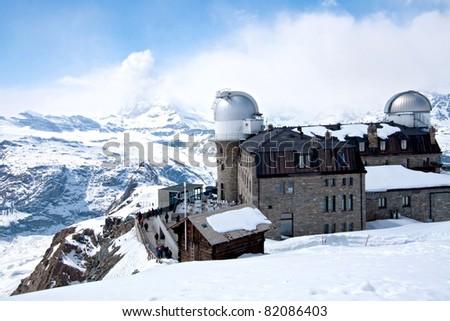 The Gornergrat Observatory and Matterhorn peak, Zermatt Switzerland - stock photo