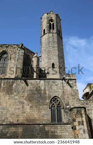 The gothic Barcelona Cathedral, known as La Seu. Spain - stock photo