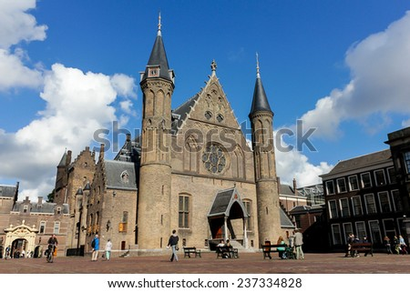 The gothic Ridderzaal, a great hall of The Hague, The Netherlands - stock photo