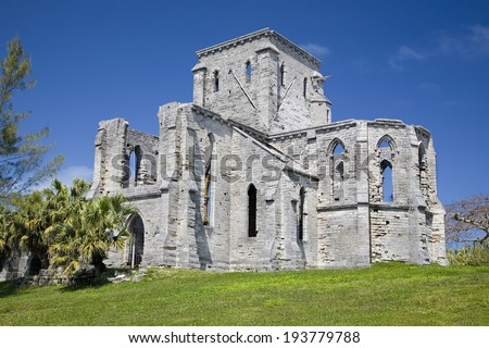 The Gothic style Unfinished Church in St. George's , Bermuda. - stock photo