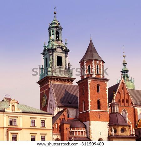 The gothic Wawel Castle in Krakow, Poland. 6x6, vintage colors - stock photo