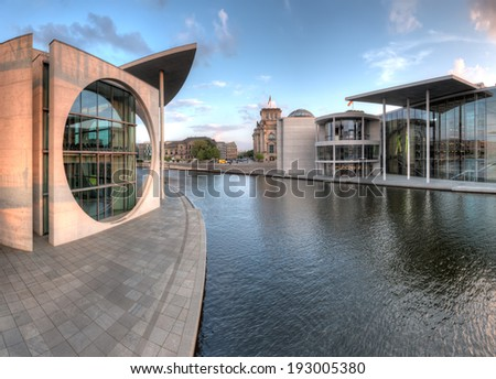 The government building district in Berlin Mitte, the capital of Germany, with the Bundestag behind. - stock photo