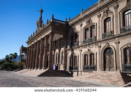 the governors palace in monterrey mexico is free to visit - stock photo