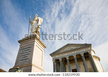 The Gran Madre church and the statue of Vittorio Emanuele I in Torino, Italy