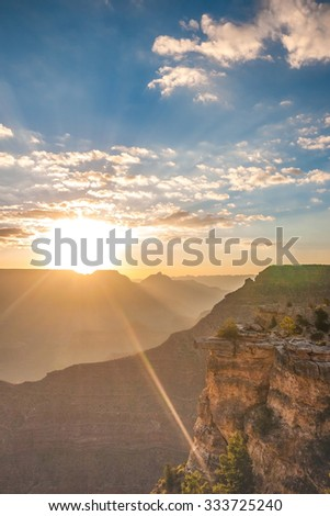 The Grand Canyon south rim in Arizona at sunset. - stock photo