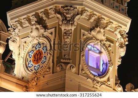 The grand casino in Monaco at night - stock photo