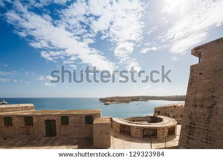 The Grand Harbour of Valletta, view from Fort St. Elmo. Valletta, Malta - stock photo
