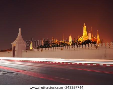 The Grand Palace, Bangkok, Thailand at night - stock photo