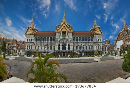 The Grand Palace is a complex of buildings at the heart of Bangkok, Thailand. The palace has been the official residence of the Kings of Siam (and later Thailand) since 1782. - stock photo