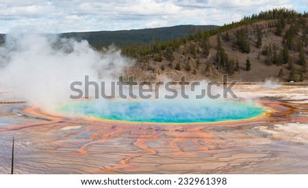 The Grand Prismatic Spring in Yellowstone National Park - stock photo