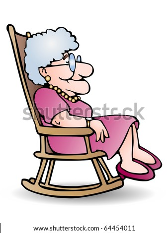 The grandmother sit on shaky chair at home illustration on isolated white background - stock photo