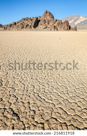 The Grandstand at the Racetrack Playa in Death Valley National Park, California - stock photo