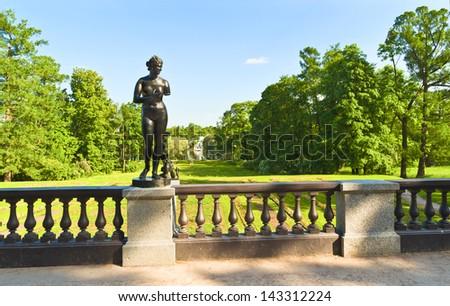 The Granite terrace in the Catherine Park in Tsarskoe Selo. Town of Pushkin near St. Petersburg, Russia - stock photo
