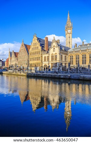 The Graslei, Ghent's old city center scenic place - Ghent, Belgium
