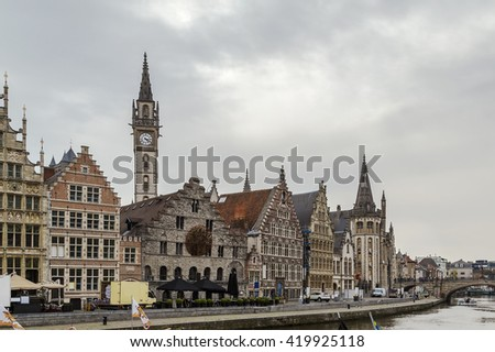 The Graslei ( Lys river embankment) is one of the most scenic places in Ghent's old city centre