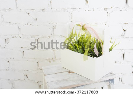 The grass in the basket - stock photo