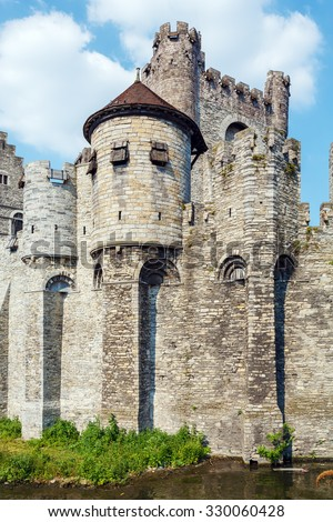 The Gravensteen, medieval castle built in 1180 by count Philip of Alsace, Ghent, Belgium - stock photo