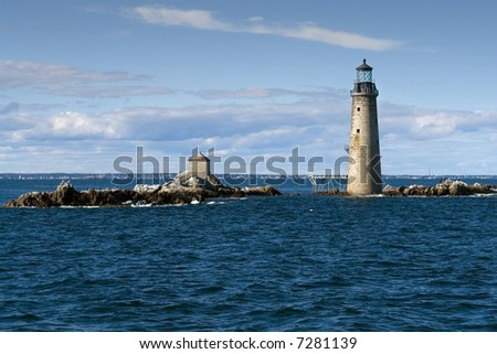 The Graves Light in Boston's outer harbor - stock photo