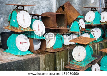 the graveyard of Kilograms weights Stainless Flat Plate Mechanical Spring Dial Scale - stock photo