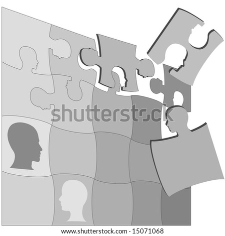 The gray areas of a Puzzling People Faces jigsaw puzzle suggests the complexity of mental health and other human issues. Clipping paths included. - stock photo