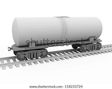 The gray tank car on a white background