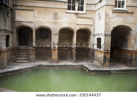 The Great Bath, part of the Roman Baths in Bath, UK