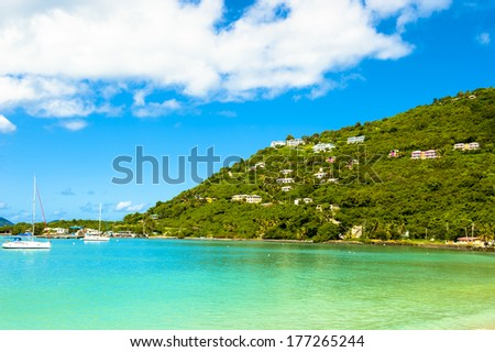 The great bay at Tortola - stock photo
