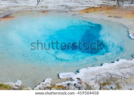 The great blue pool in Yellowstone National Park
