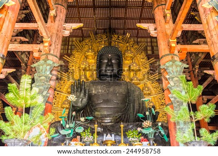 The Great Buddha (Daibutsu-Den) at Todai-ji temple in Nara, Japan. - stock photo