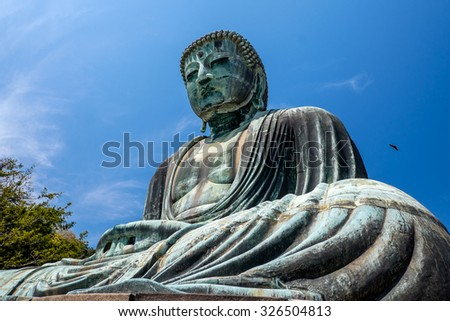 The great Buddha in the site of Kamakura, Japan