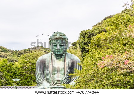 The Great Buddha of Kamakura. Great Buddha of Kamakura has been surrounded by green trees. Pigeon has been flying to the Buddha's head.