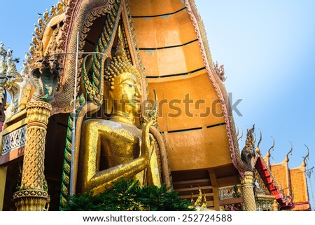 The Great Buddha statue at Wat Tham Sua, Kanchanaburi Province, Thailand - stock photo