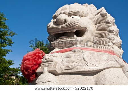 the great chinese face in baromraja temple thailand - stock photo