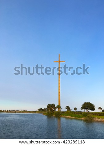 The Great Cross, the world's largest cross at 208 feet, placed where the first cross of Christianity was planted in 1565, St. Augustine, Florida, USA.