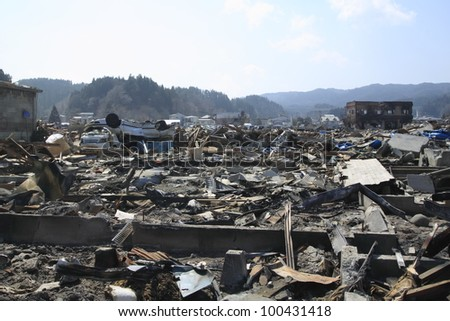 The Great East Japan Earthquake in Iwate - stock photo