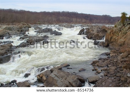 The Great Falls of the Potomac River, outside of Washington, D.C. - stock photo