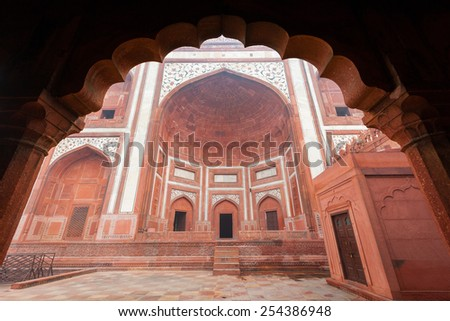 The Great Gate at the Taj Mahal complex in Agra, India. - stock photo